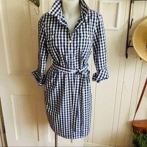 Vineyard Vines Gingham Shirt Dress -4 Navy /white